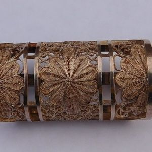 Antique Sterling Silver Filigree Scarf Ring Clip